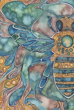 Honey Bee 5 x 7 print of detailed watercolour artwork in muted earth tones, mauve aqua yellow, art nouveau