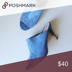SCS⚡️VICTORIA'S SECRET baby blue suede mule heels Brand : Victoria's Secret  / Size : 10  / Condition : Perfect Condition; NWOT   / baby blue peep-toe mule / new without tag  / approx 4in heel  / no wear on sole Victoria's Secret Shoes Mules & Clogs