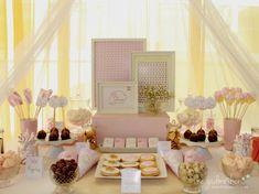 mesa dulce comunión -  mesa dulce princesas - mesa dulce en blanco dorado y rosa - 2 the godmother.es