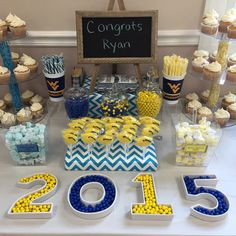 Graduation Candy Buffet-yellow and blue