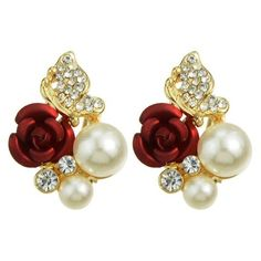 Pair of Gorgeous Faux Pearl Rhinestone Rose Earrings For Women (185 INR) ❤ liked on Polyvore featuring jewelry, earrings, rose earrings, faux pearl earrings, fake pearl jewelry, faux pearl jewelry and rhinestone jewelry