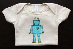 Want: Organic Cotton Robot Onesie by LittleKorboose on Etsy, $20.00