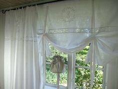 LillaBelle CRYSTAL**Weiß Gardine Vorhang Monogramm Shabby Chic Landhaus Curtain | eBay