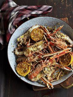 Langoustines with lemon & pepper butter Jamie Oliver Food Jamie Oliver (UK) Lemon Recipes, Fish Recipes, Seafood Recipes, Healthy Recipes, Gf Recipes, Summer Recipes, Delicious Recipes, Dinner Recipes, Dessert Recipes