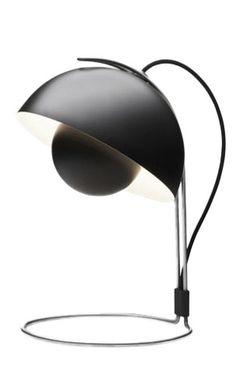 VP4 Black FlowerPot Table Lamp. Design Verner Panton, 1950s