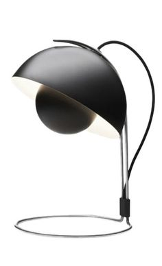 VP4 Black FlowerPot Table Lamp. Design Verner Panton