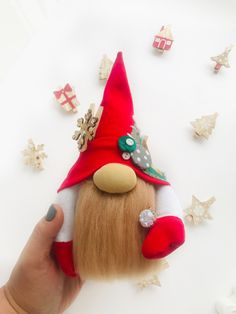 Items similar to Christmas gnome it's a great gift for Christmas. on Etsy Christmas Gnome, Handmade Christmas, Christmas Gifts, Christmas Ornaments, Crochet Toys Patterns, Stuffed Toys Patterns, Handmade Toys, Handmade Ideas, Etsy Handmade
