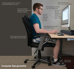 Tips Help Relieve Digital Eye Strain Avoid eye strain on the computer! These tips will help save your eyes.Avoid eye strain on the computer! These tips will help save your eyes. Office Setup, Desk Setup, Pc Desk, Office Organization, Posture Fix, Bad Posture, Posture Correction, Eye Strain, Health And Wellbeing