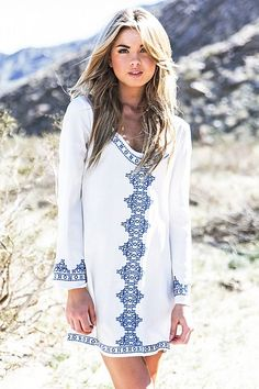 53848a5094c94 2016 Bathing Suit Summer Fashion Long Sleeve Bohemian Beach Cover up  Maldives Embroidered Pattern Tunic Dress