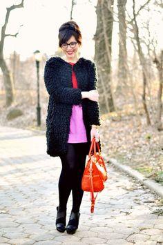 Shop this look on Lookastic:  http://lookastic.com/women/looks/heeled-sandals-tights-tote-bag-watch-mini-skirt-fur-coat-sleeveless-top/8121  — Black Leather Heeled Sandals  — Black Wool Tights  — Orange Leather Tote Bag  — Gold Watch  — Hot Pink Mini Skirt  — Black Fur Coat  — Red Sleeveless Top