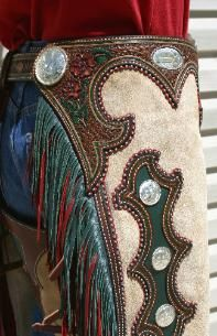 Annabells_chaps by Denice Langley, but change the colors pink and blue, pink the state flower a d blue the state colors. Cowgirl Chaps, Cowboy Gear, Cowboy And Cowgirl, Cowgirl Style, Cowboy Boots, Cowgirl Shirts, Cowgirl Outfits, Western Outfits, Western Wear