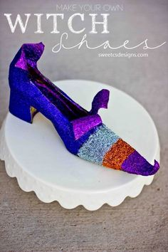 Make your own witch shoes with some old pumps, cardboard tape and glitter for the perfect Halloween decor!