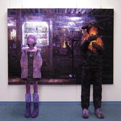 「雨宿り」/ ''Shelter from the rain'', 2007, panting, polystyrene based sculpture