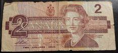 1986 Canada $2 Dollar Banknote Red Queen Elizabeth ii Cash Money Paper