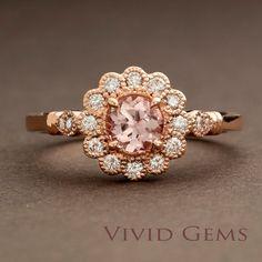 Morganite Rose Gold Ring Flower Engagement Ring by VividGemsOnEtsy