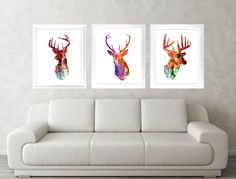 Antler, Stag, Deer Print Set of 3 - Minimalist Art - Watercolor Poster Silhouette Art - Print - Wall Decor, Home Decor, Gifts by TheCuttingEdgeShop on Etsy