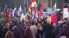 Thousands of demonstrators in Dresden come out to protest against the influx of refugees into Germany.