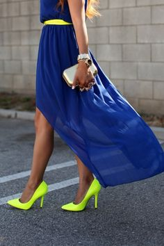 #royal blue flowy dress with neon accessories and shoes!