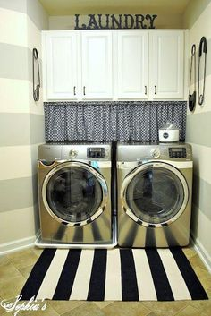 laundry room makeover ideas - striped.  Good site, several possibilities.