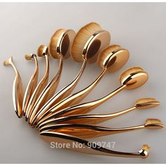 Wholesale Product Snapshot Product name is 10Pcs Toothbrush Shaped Make Up Brush Set rose gold Oval Foundation Eyebrow Eyeliner Lip Facial Power Makeup Brushes padwage.com/...