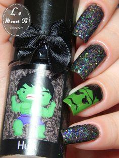 #nails #nail #fashion #style #hulk #cute #beauty #beautiful #verde #pretty #girl #girls #stylish #sparkles #styles #gliter #nailart #art #opi #green #essie #unhas #preto #avengers #vingadores #love #shiny #polish #nailpolish #nailswag