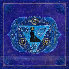 Ajna Chakra by Helene Averous Throat Meditation Reiki Healing Yoga Mandala Art Sacred Geometry Chakra Healing, Art Chakra, Chakra Meditation, Kundalini Yoga, Reiki Chakra, Chakras Reiki, Seven Chakras, Ayurveda, Namaste
