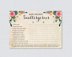 Scattergories Baby Shower Game  Floral Bohemian Theme  Baby