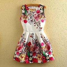 Women' Sleeveless Floral Printed Dress - USD $ 15.59