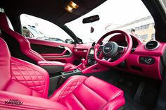 Hot pink leather car interior Felicia would love it in the scion.