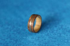 Wood and metal Inlay ring | -material: wood - metal (nickel silver) inlaying