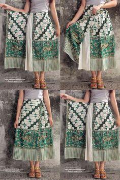 Batik Amarillis Made in Indonesia www. Batik Amarillis Made in Indonesia www. beautiful ethnic inspired pieces to bring you joy & luck. Source by batikamarillis. Batik Kebaya, Batik Dress, Clothes Crafts, Sewing Clothes, Dress Clothes, Diy Couture Foulard, Apron Dress, Dress Skirt, Tie Skirt