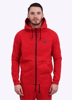8709d59bf738 Nike AW77 Tech Fleece Hoodie - Red Nike Sweat Suits