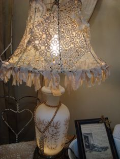"""Dream in Cream: ~ """" Dorothy aka Shabby Y makes lovely lampshades with a variety of laces """""""