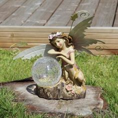 Solar Powered Garden Fairy Figurine Spot Light with Amber LED