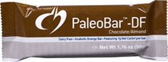 PaleoBar™-DF Chocolate/Almond is an anabolic energy bar great for energy and post-workout recovery, and features creatine, magnesium and L-carnitine. This bar is dairy-free with a protein base from rice protein concentrate and pea protein isolate and healthy fats from almond butter and coconut oil. #paleo #diet #fitness #snacks #dairyfree #chocolate