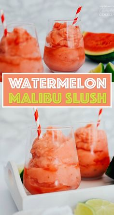 camping drinks Alcohol Awesome is part of Camping Cocktail Drink Recipes Camping For Foodies - This Watermelon Malibu Slush has just a handful of ingredients and is perfect for keeping in the freezer for impromptu cocktail hours all summer! Slush Recipes, Summer Drink Recipes, Alcohol Drink Recipes, Vodka Slush Recipe, Punch Recipes, Frozen Drink Recipes, Malibu Rum Drinks, Cocktail Drinks, Cocktail Recipes