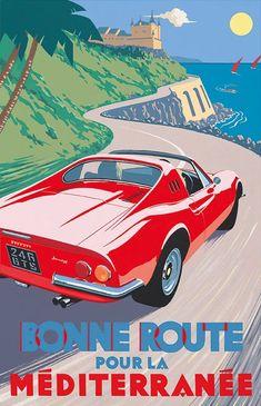 PEL402: 'Ferrari Dino 246 gt – Bonne Route pour la Méditerranée' by Charles Avalon - Vintage car posters - Art Deco - Pullman Editions - Ferrari