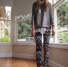 Love this outfit, jewel toned, patterned pants with sparkly sweater, 2 thumbs up.