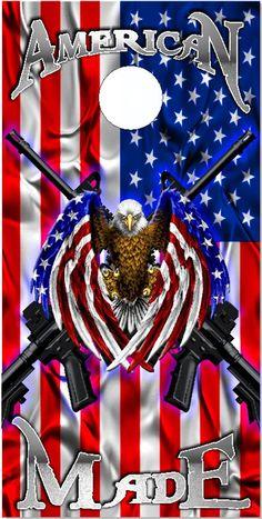 American Flag Eagle Made 2 Guns Cornhole Wrap Bag Toss Decal Baggo Skin Sticker Wraps Laminated or N