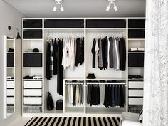 PAX Ikea dressing idea: a shelf to separate the 2 parts wardrobes, po . - Ikea DIY - The best IKEA hacks all in one place Wardrobe Design Bedroom, Bedroom Wardrobe, Wardrobe Closet, Wardrobe Planner, Pax Planner, Curtain Wardrobe, Walk In Wardrobe Design, Ikea Pax Wardrobe, Sliding Wardrobe