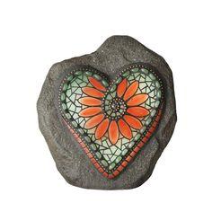 Moonrays Chris Emmert Designs in. Flower Heart Solar Powered Integrated LED Outdoor Landscape Garden Light 92502 - The Home Depot Mosaic Rocks, Mosaic Art, Mosaic Glass, Glass Art, Mosaics, Mosaic Stones, Stained Glass, Mosaic Crosses, Pebble Painting
