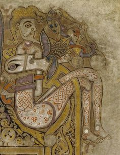 Columban monks, Book of Kells, circa 800 CE. Detail of folio Ink on vellum. Ottonian, Bayeux Tapestry, Book Of Kells, Illuminated Letters, Stained Glass Art, Love Book, Vikings, Celtic, Medieval