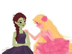 Elsa as Elphaba & Rapunzel as Galinda