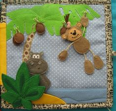jungle busy book page . . . love the monkey and the hanging coconuts.