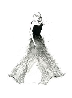 black and white feather dress sketch