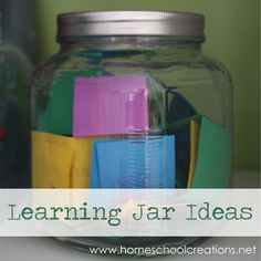 Learning Jar Ideas- a fun way to use manipulatives and resources during your school day. #homeschool