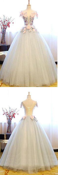 White Princess Deep V Neck Flowers Cap Sleeve Long Ball Gown Prom Dresses, Quinceanera Dress  #QuinceaneraDress #ballgown #offwhite #okdresses