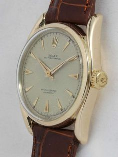 Rolex Yellow Gold Oyster Perpetual Bombe Wristwatch Ref 6090 circa 1950s image 3