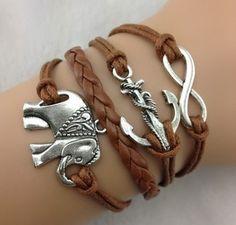 Aliexpress.com : Buy 3pcs Silvery Elephant bracelet,anchor bracelet,infinity bracelet,Brown rope bracelet and leather bracelet b23 min order 10$ from Reliable leather and metal bracelet suppliers on Julia Y's store $4.86