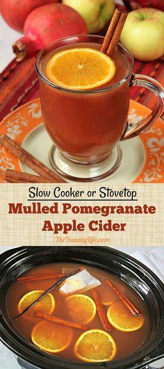 Mulled Pomegranate Apple Cider   no added sugar